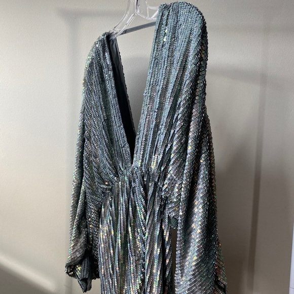 Stunning Batwing ASOS Silver Draped Gown
